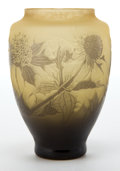 Art Glass:Other , D'ARGENTAL OCHRE AND YELLOW CAMEO GLASS THISTLE VASE . The yellowcameo glass vase with ochre overlay acid-etched and wheel-...