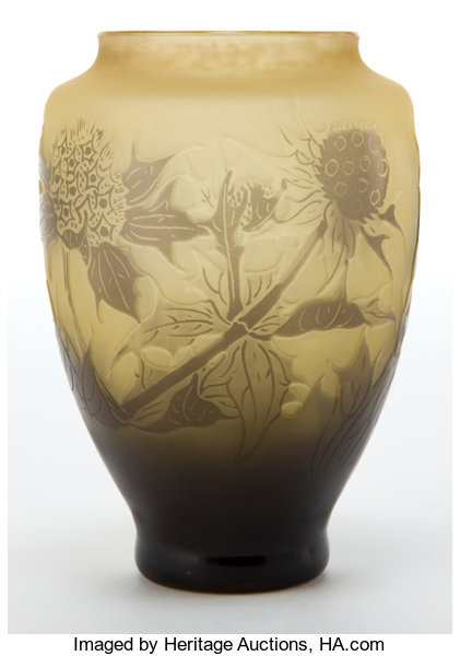 Dargental Ochre And Yellow Cameo Glass Thistle Vase The Lot