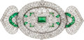 Estate Jewelry:Brooches - Pins, Art Deco Diamond, Emerald, Platinum Brooch, Lacloche Frères. ...