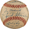 Autographs:Baseballs, 1947 New York Yankees Team Signed Baseball with Joe Medwick....