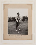 Golf Collectibles:Autographs, 1929 Walter Hagen Signed Oversized British Open Photograph....