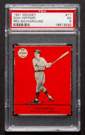 "Baseball Cards:Singles (1940-1949), 1941 Goudey Don Heffner, Red #11 PSA EX 5 - Finest ""Red"" onRecord...."
