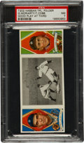 "Baseball Cards:Singles (Pre-1930), 1912 T202 Hassan Triple Folder Moriarity/Cobb ""Good Play at Third""PSA NM 7...."