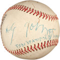 Autographs:Baseballs, 1955 Cy Young Single Signed Baseball Presented to Woody Hayes' Son....