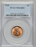 Lincoln Cents: , 1929 1C MS64 Red PCGS. PCGS Population (270/912). NGC Census:(206/934). Mintage: 185,262,000. Numismedia Wsl. Price for pr...