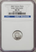 Modern Bullion Coins, 2007 $10 Tenth-Ounce Platinum Eagle Early Releases MS70 NGC. NGCCensus: (0). PCGS Population (94). Numismedia Wsl. Price ...