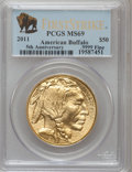 Modern Bullion Coins, 2011 $50 One-Ounce Gold Buffalo, 5th Anniversary First Strike MS69PCGS. Ex: .9999 Fine. NGC Census:...