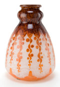 Art Glass:Schneider, CHARLES SCHNEIDER LE VERRE FRANCAIS GLASS RUBANIERS VASE .White glass with violet to orange overlay, acid-etche...