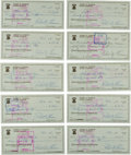 Autographs:Checks, 1980's Bobby Thomson Signed Checks Lot of 1,000....