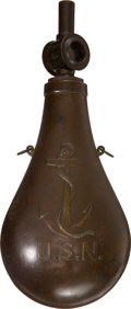 Arms Accessories:Flasks, Ames 1843 U. S. Navy Powder Flask with Rare 'Austrian' Glass Window Top....