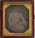 Photography:Daguerreotypes, Sixth Plate American Daguerreotype C. 1845 of a Hunter with His Dog. ...