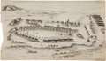 Military & Patriotic:Indian Wars, Absolutely Exquisite 1879 Pen and Ink Rendering of Fort D. A. Russell, Wyoming Terr. ...