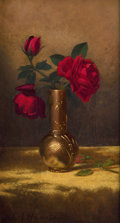 Fine Art - Painting, American:Other , MARTIN JOHNSON HEADE (American, 1819-1904). Red Roses in aJapanese Vase on a Gold Velvet Cloth, circa 1885-1890. Oilon...