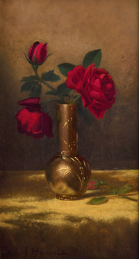 MARTIN JOHNSON HEADE (American, 1819-1904) Red Roses in a Japanese Vase on a Gold Velvet Cloth, circa 1
