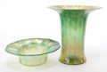 Art Glass:Tiffany , TIFFANY STUDIOS FAVRILE GLASS BOWL AND VASE . Green Favrile glassbowl with wide lip and vase with applied gilt to lip, circ...(Total: 2 Items)