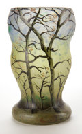 Art Glass:Legras, LEGRAS GLASS LANDSCAPE VASE . Gourd vase with etched and enameledSpring landscape motif, circa 1910 . Marks: Legras (ca...