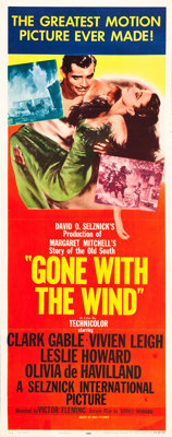 """Gone with the Wind (MGM, R-1954). Insert (14"""" X 36"""")"""