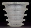 Glass, R. LALIQUE CLEAR AND FROSTED GLASS CHEVREUSE VASE . Circa 1930 . Stenciled: R. Lalique, France . 6-1/4 inche...
