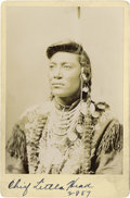 Photography:Cabinet Photos, HAYNES PORTRAIT OF CHIEF LITTLE HEAD. In this cabinet bust photo,Chief Little Head wears a richly beaded, embroidered, and ...(Total: 1 Item)