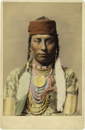 "Photography:Cabinet Photos, HAYNES' HAND-COLORED CABINET PHOTOGRAPH OF BIG MEDICINE MAN.Measuring approximately 4"" x 5½"", this immaculately hand-colore...(Total: 1 Item)"