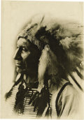 "Photography:Official Photos, LARGE D.F. BARRY BUST PORTRAIT OF OGLALA LAKOTA CHIEF AMERICANHORSE. Impressive 5½"" x 8"" sepia-toned bust portrait of Chief...(Total: 1 Item)"