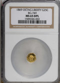 California Fractional Gold, 1869 25C BG-749 MS65 Deep Prooflike NGC. (#710576)...