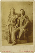 Photography:Cabinet Photos, HANDSOME BARRY CABINET OF RAIN-IN-THE-FACE AND WOMAN.Rain-In-The-Face poses for a studio shot with an unidentified woman- ... (Total: 1 Item)