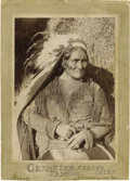 "Photography:Official Photos, IMPRESSIVE IRWIN IMAGE OF GERONIMO HOLDING A ""DANCE"" TEXASREVOLVER. After years on the run, the great Apache warriorGeroni... (Total: 1 Item)"