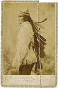 Photography:Cabinet Photos, EXTREMELY SCARCE CABINET PHOTOGRAPH OF GERONIMO IN HIS WAR BONNET.From 1890 to 1895, George A. Addison operated a photo stu...(Total: 1 Item)