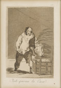 "Prints:Old Master, FRANCISCO DE GOYA Y LUCIENTES (Spanish, 1746-1828). Ysele quemala Casa (from ""Los Caprichos"" series). Etching and aquat...(Total: 1 Item)"