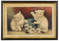 Prints:American, CURRIER & IVES (American, 1834-1907). My Little WhiteKitties, Playing Dominoes. Color print. 10in. x 15in.. ...(Total: 1 Item)