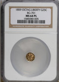 California Fractional Gold, 1859 25C BG-701 MS64 Prooflike NGC. (#710528)...