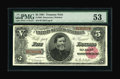 Large Size:Treasury Notes, Fr. 362 $5 1891 Treasury Note PMG About Uncirculated 53....