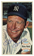 Autographs:Sports Cards, 1964 Topps Giants Signed Mickey Mantle Card. The impressiveoversized Giants issue that Topps released in 1964 included an ...