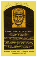 Autographs:Post Cards, Joe McCarthy Signed Gold Hall of Fame Plaque. Esteemed skipper JoeMcCarthy makes this gold Hall of Fame plaque postcard th...
