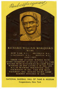 Autographs:Post Cards, Rube Marquard Signed Hall of Fame Plaque. On the strength of Hallof Fame pitcher Rube Marquard the New York Giants won thr...