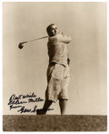 "Golf Collectibles:Autographs, Gene Sarazen Signed Photograph. Wonderfully composed 8x10"" shot ofthe great Gene Sarazen, who is one of only five men who ..."