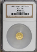California Fractional Gold: , 1869 $1 BG-1106 MS64 Prooflike NGC. NGC Census: (2/0). (#710917)...