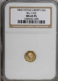 California Fractional Gold, 1860 $1 BG-1102 MS63 Prooflike NGC. NGC Census: (1/4). (#710913)...