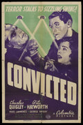 "Movie Posters:Mystery, Convicted (Columbia, 1938). One Sheet (27"" X 41""). Mystery. ..."