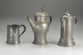 Silver Holloware, Continental:Holloware, A Group of Three Pewter Vessels. Unkown makers, Germany andAmerica. Eighteenth and Nineteenth Centuries. Pewter. Unmarked...(Total: 3 )
