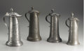 Silver Holloware, Continental:Holloware, A Group of Four Pewter Flagons. Various makers, Germany. Eighteenthand Nineteenth Centuries. Pewter. Unmarked. 11.4 in. t... (Total: 4)