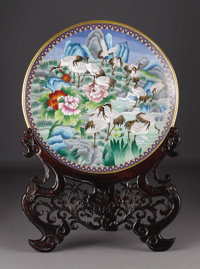 A Large Chinese Cloisonne Enamel Charger on Stand  Unknown maker, Twentieth Century Enamel on brass Unmarked 25.5 in. d...