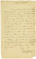 "Autographs:Statesmen, Caesar Rodney Autograph Letter Signed ""Caesar Rodney,"" onepage, 7.5"" x 12.25"", Dover, December 17, 1780, to his brother..."