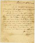 "Autographs:Statesmen, William Whipple Autograph Letter Signed ""W W,"" one page, 7"" x 9"". Portsmouth, December 14, 1779. Integral leaf addressed... (Total: 1 Item)"