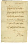 """Autographs:Statesmen, George Wythe Rare Autograph Letter Signed """"G. Wythe,"""" one page, 9.5"""" x 15"""". [Williamsburg, Virginia], June 11, 1771. Add..."""
