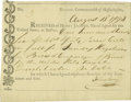 """Autographs:Military Figures, USS Constitution Partly Printed Document Signed """"John Bery,"""" one page, 7"""" x 5.25"""". Boston, August 13, 1798. ..."""