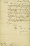 "Autographs:Military Figures, Jeffrey Amherst Manuscript Letter Signed ""Jeff Amherst,"" one page, 8"" x 12.5"". Albany, August 20, 1761. To Thomas Hancoc... (Total: 1 Item)"