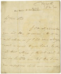 """Autographs:Military Figures, Francis Rawdon, 1st Marquess of Hastings, Lord Moira Autograph Letter Signed """"Moira,"""" 3.5 pages, 7"""" x 8.75"""", front and v..."""
