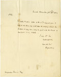 "Autographs:Statesmen, Rufus King Autograph Letter Signed ""Rufus King,"" one page,7.75"" x 10"". Senate Chamber, February 13, 1824. To Augustus F..."